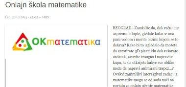 Glas Srbije o OKmatematici